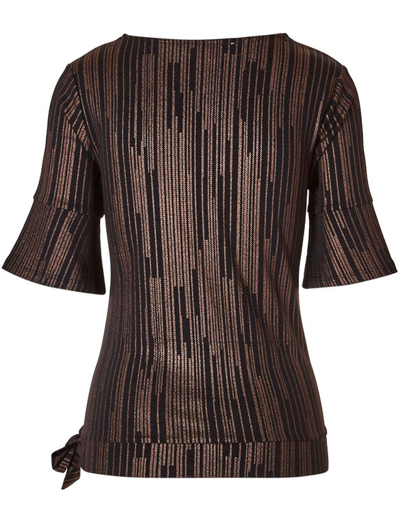 Gold Shimmer Stripe Top, Black, hi-res