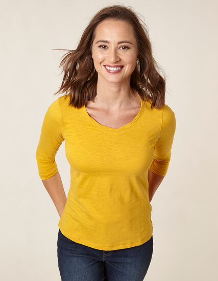 Yellow Twisted Neckline Tee, Yellow, hi-res