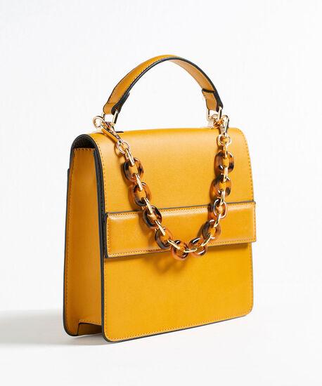 Chainlink Handle Small Handbag, Gold, hi-res