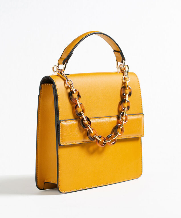 Chainlink Handle Small Handbag, Gold, hi-res