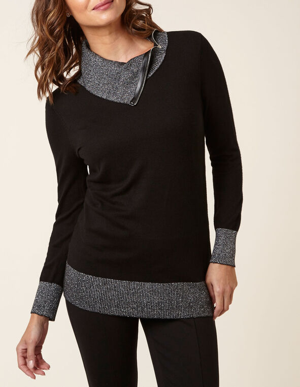 Black Metallic Detail Sweater, Black, hi-res