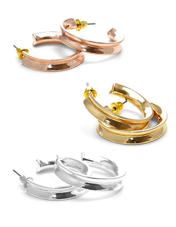 Tri-Metal Hooper Loop Earring, Rose Gold/Gold/Silver, hi-res