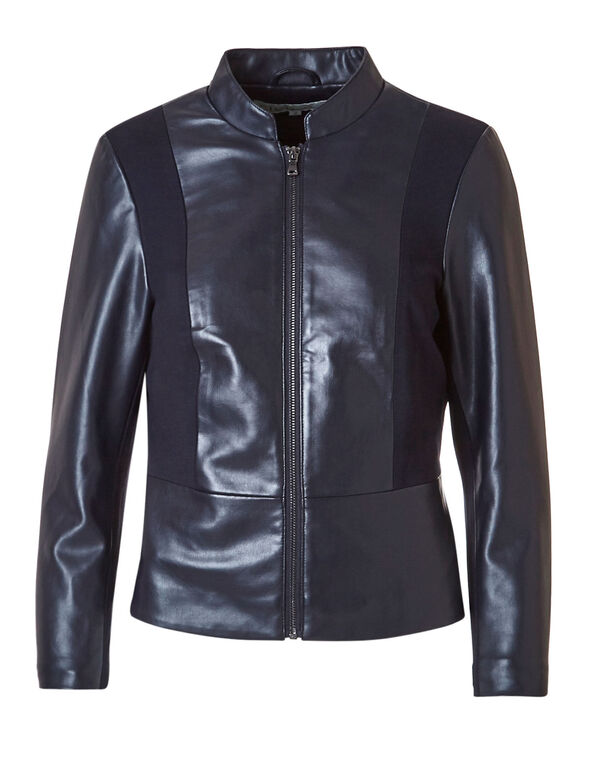 Navy Peplum Faux Leather Jacket, Navy, hi-res