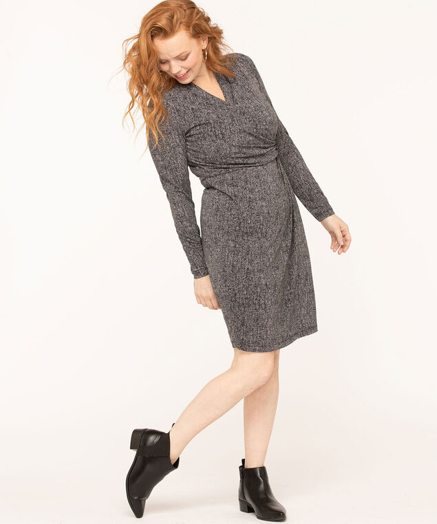 Side Ruched Faux Wrap Dress, Black/Grey, hi-res