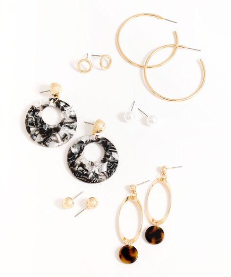 Gold Tortoise Shell Earring 6-Pack, Gold, hi-res