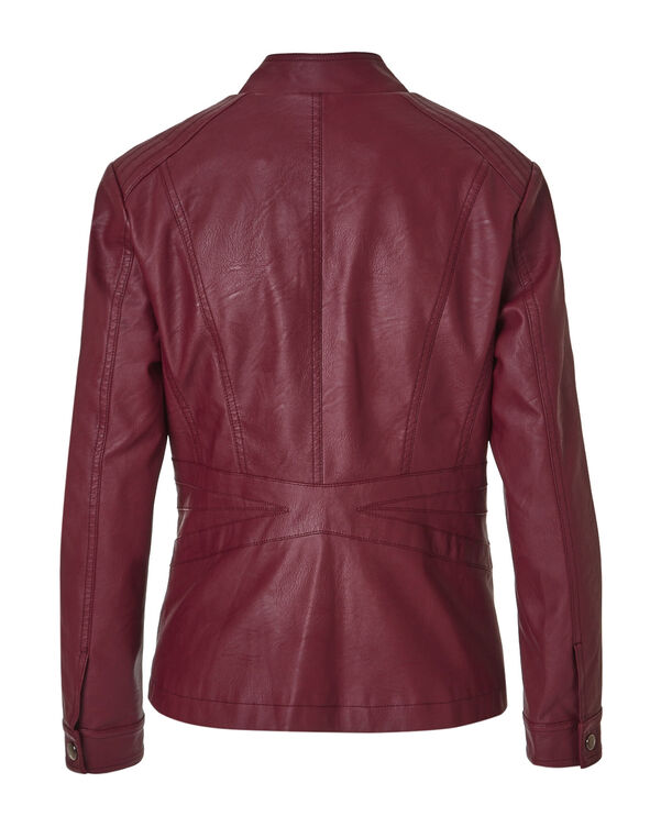 Claret Faux Leather Jacket, Claret, hi-res