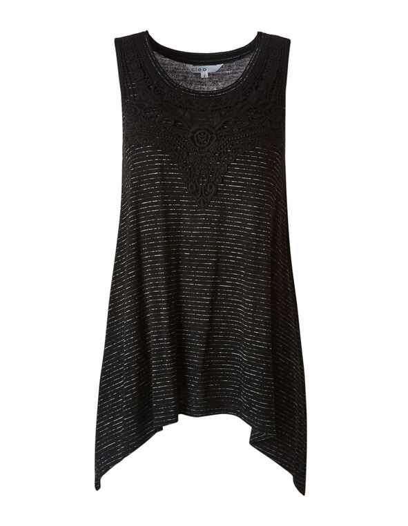 Black Striped Tunic Top, Black, hi-res