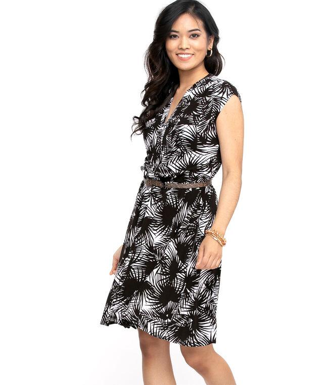 Short Sleeve Printed Dress, Black/White Palm