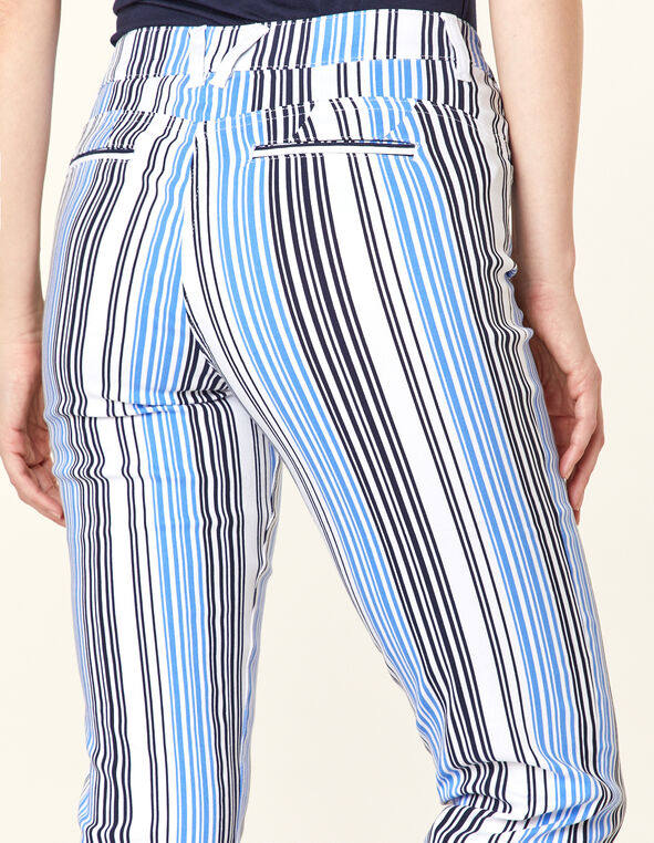 Stripe Button Butt Lift Slim Pant, Black/Blue, hi-res