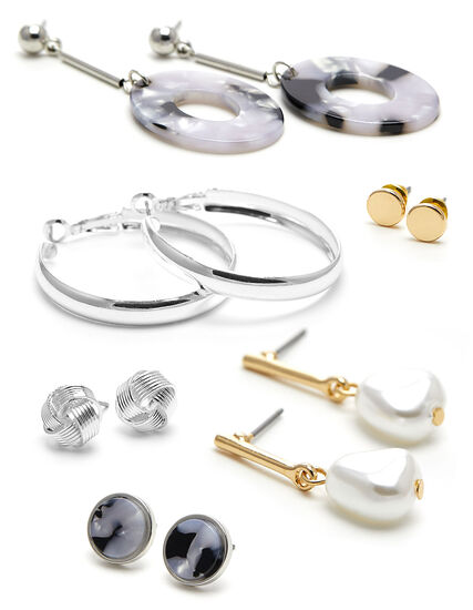 Marble & Pearl 6-Pack Earring Set, Silver/Gold, hi-res