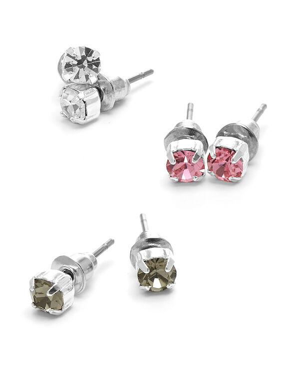 Coloured Stud Earring Trio Set, Multi, hi-res