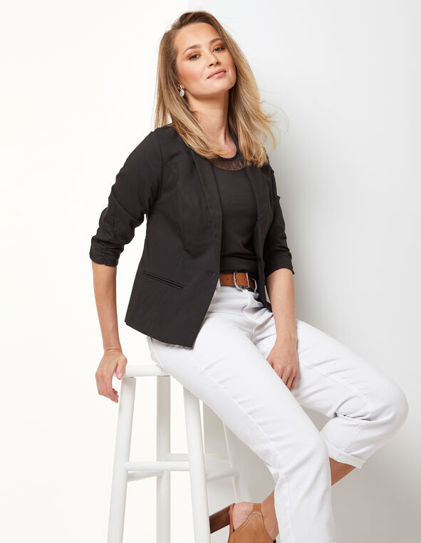 Black Ruched Blazer, Black, hi-res