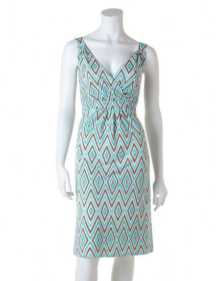 Aqua Diamond A-Line Dress, Aqua/Taupe/White, hi-res