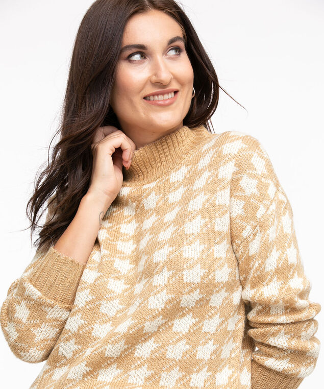 Houndstooth Mock Neck Sweater, Straw Houndstooth
