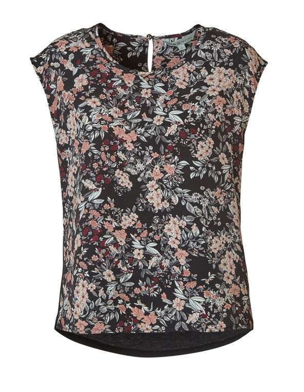 Pink Floral Woven Back Blouse, Black, hi-res