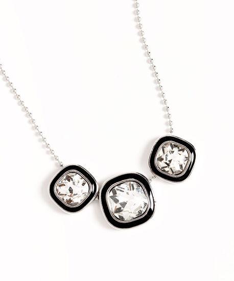 Square Crystal Silver Necklace, Silver, hi-res