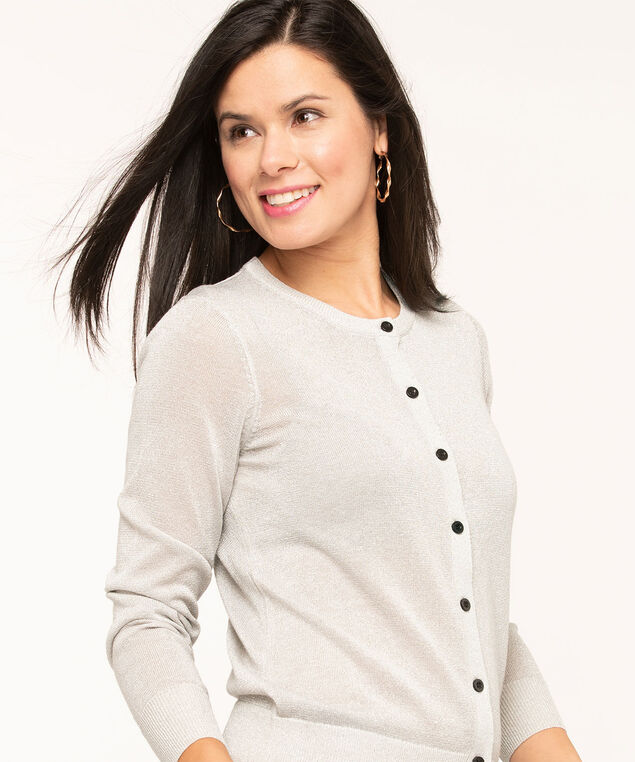 Silver Metallic Button Front Cardigan, Silver