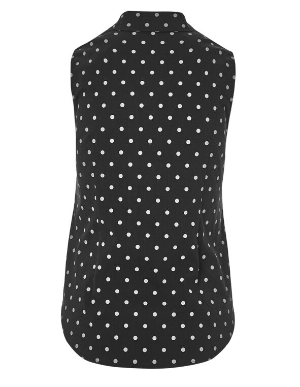 Dotted Button Front Blouse, Dot Print, hi-res