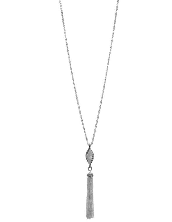 Twisted Leaf Long Chain Necklace, Silver, hi-res