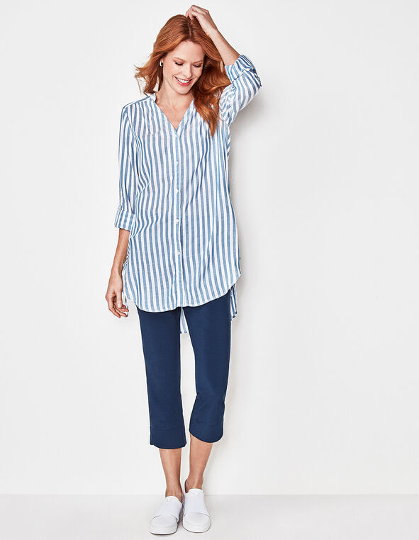 Blue Striped Side Tie Tunic Blouse, Blue/White, hi-res