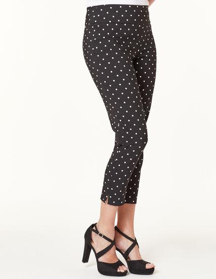 Polka Dot Slim Ankle Pant, Black Pt, hi-res