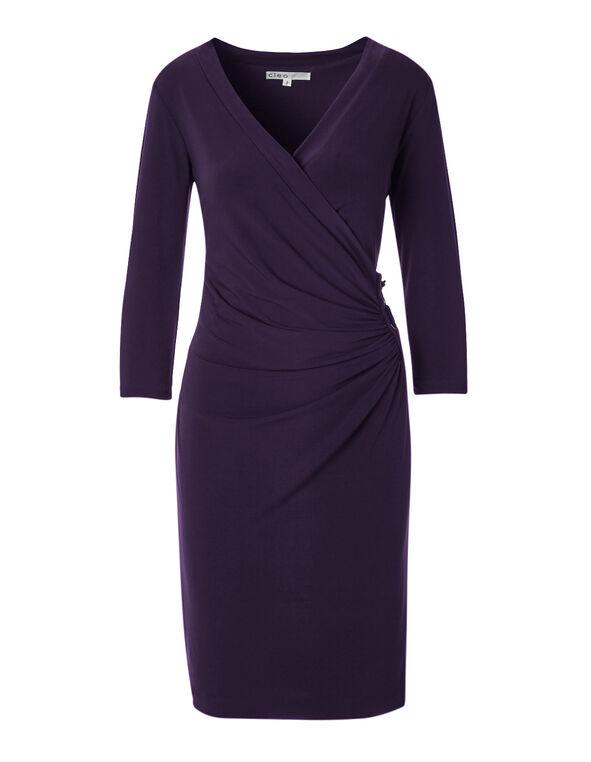 Purple Ruched Side Dress, Purple, hi-res