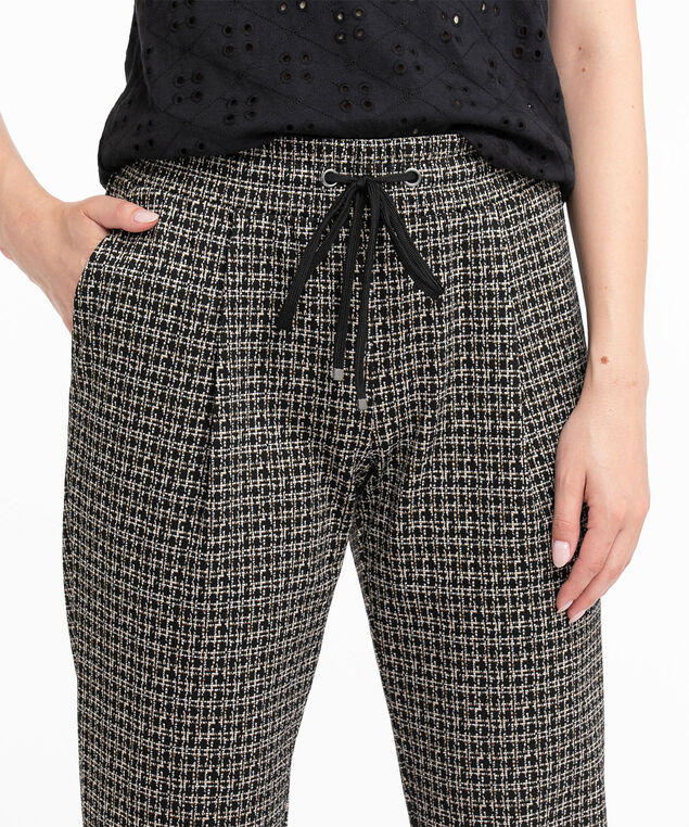 Jacquard Knit Jogger Pant, Black/White/Mustard