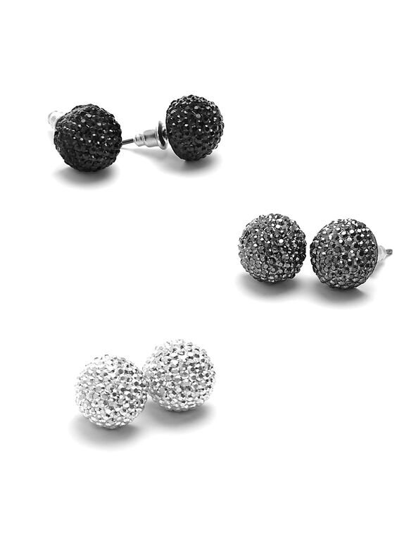 Bling Stud Earring Trio, Silver, hi-res