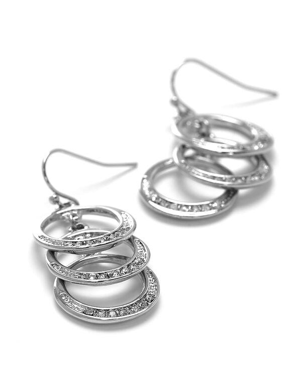 Silver Triple Hoop Earring, Silver, hi-res