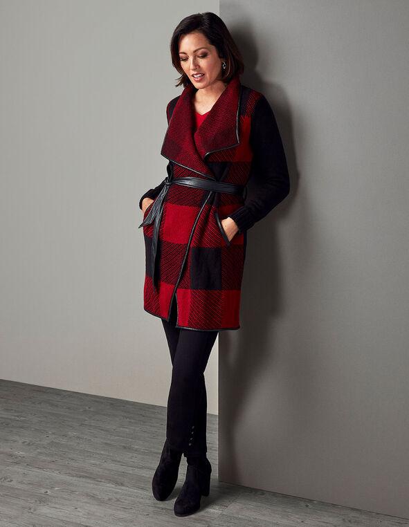 Plaid Wrap Belted Coatigan Sweater, Black/Red, hi-res