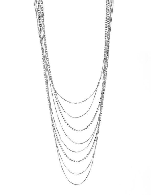 Silver Multi Chain Necklace, Silver, hi-res