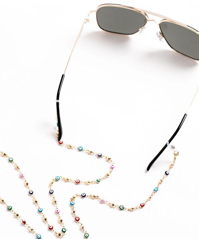 Colourful Beaded Mask & Sunglasses Chain, Gold