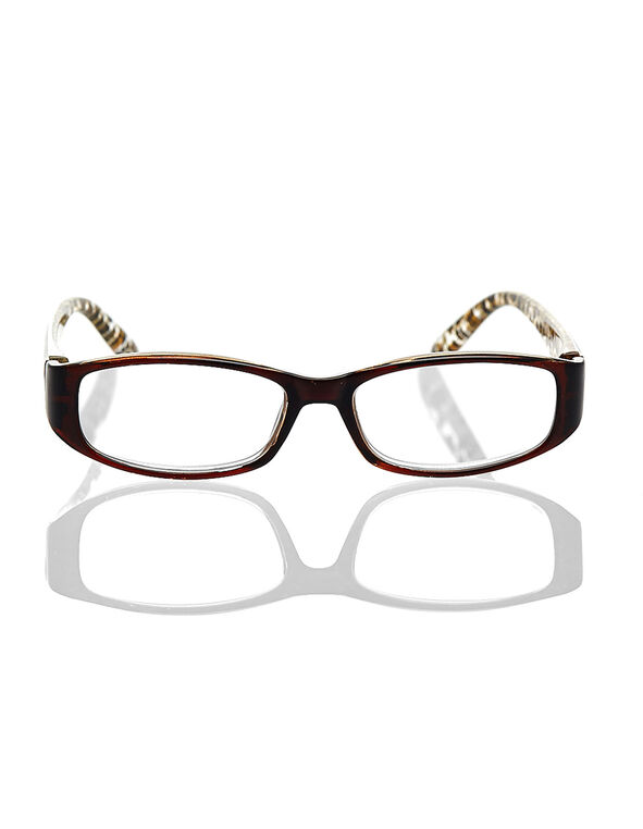 Brown Leopard Printed Reader, Brown, hi-res