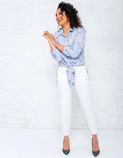 Blue Floral Tunic Blouse Look, , hi-res