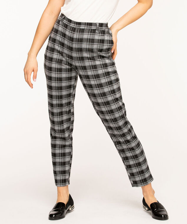 Plaid Pull On Slim Ankle Pant, Plaid