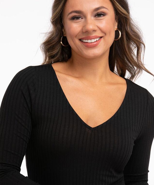 Ribbed V-Neck Bodysuit, Black