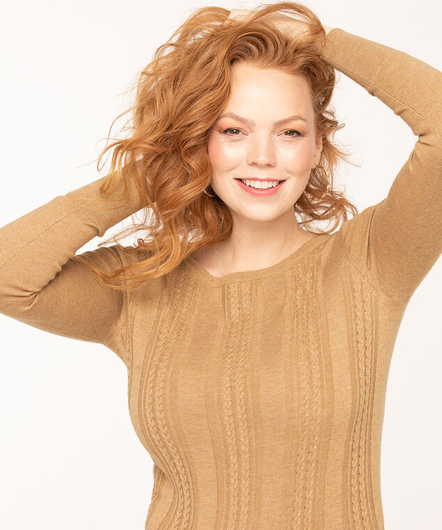 Cable Stitch Pullover Sweater, Camel, hi-res