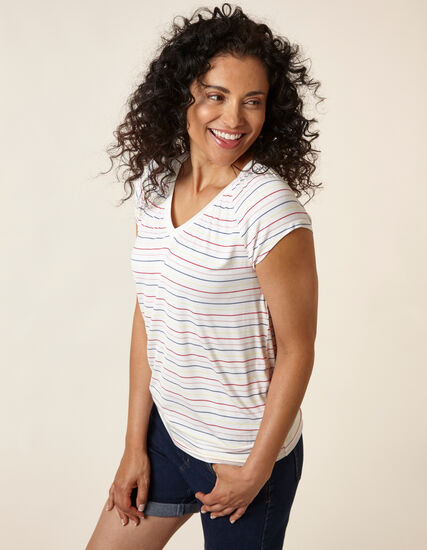 Striped Printed Banded Top, White/Red/Blue/Yellow, hi-res