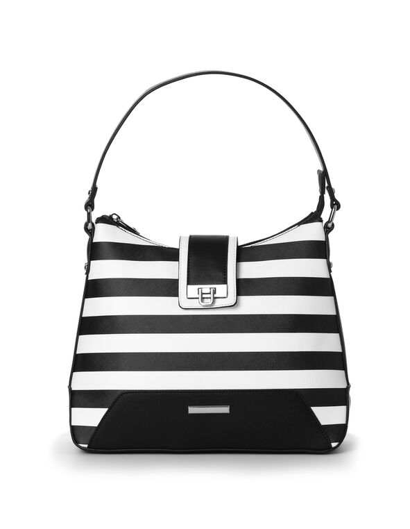 Black Striped Hobo Handbag, Black/White, hi-res