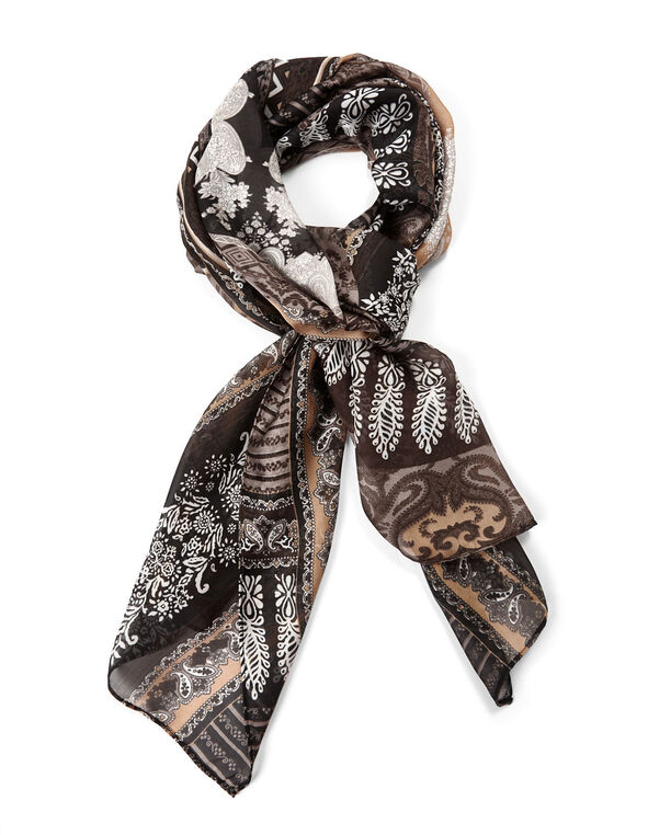 Neutral Patterned Oblong Scarf, Black/Brown, hi-res