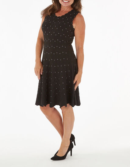 Black Fit & Flare Sweater Dress, Black, hi-res