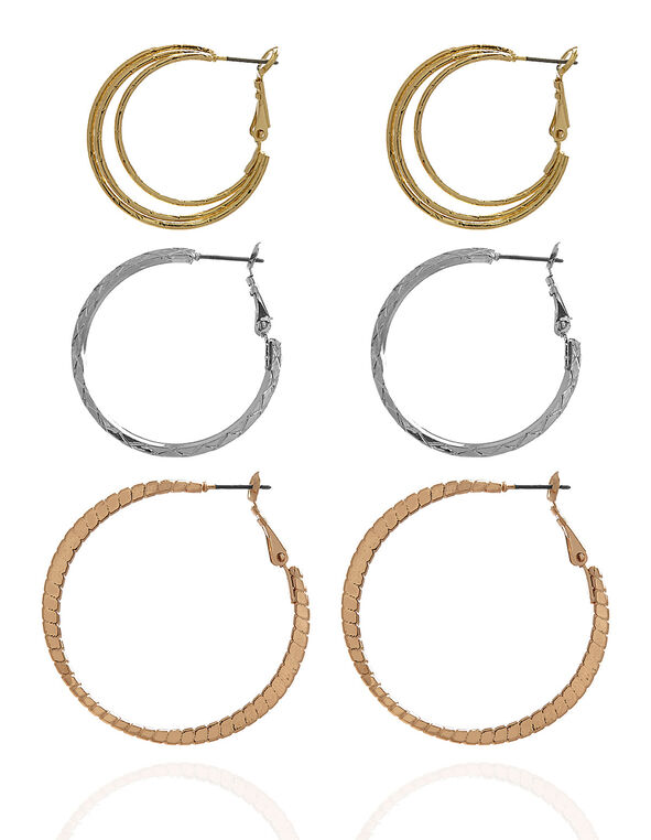 Textured Hoop Earring Trio Set, Gold/Silver/Rose Gold, hi-res