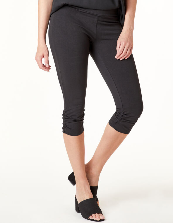 Black Ruched Capri Legging, Black, hi-res