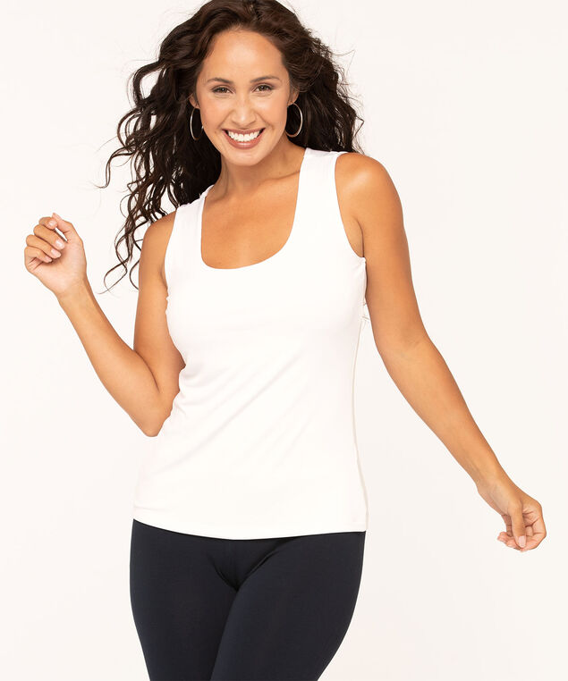 Essential Scoop Neck Layering Tank, White, hi-res