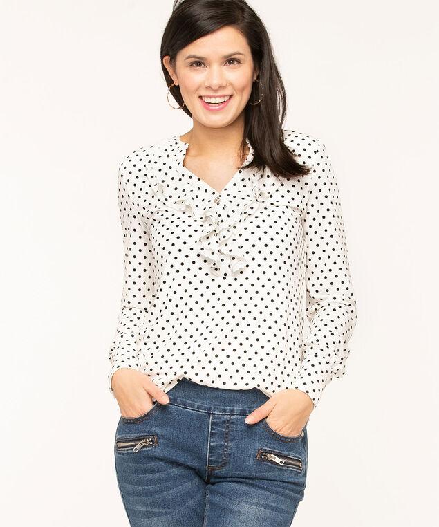 Ivory Polka Dot Ruffle Top, Ivory/Black Dot, hi-res