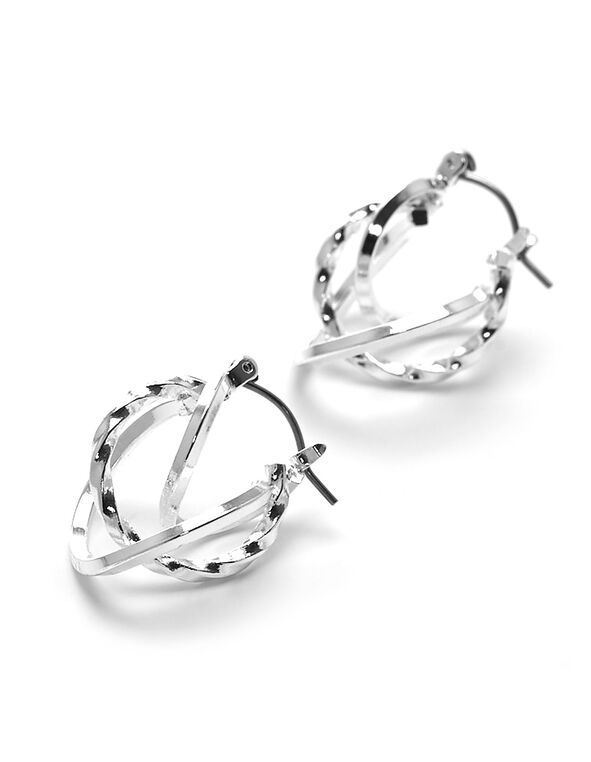 Silver Small Twisted Hoop Earring, Silver, hi-res