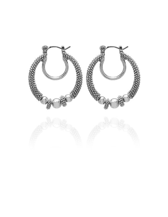 Silver Textured Double Hoop Earring, Silver, hi-res