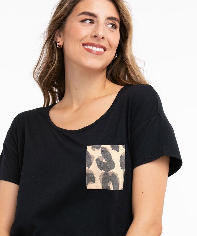 Super Soft Pocketed Pyjama Top, Black/Leopard Print