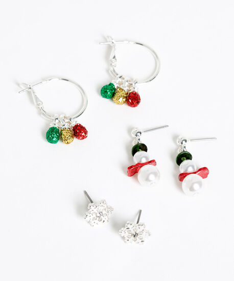Festive Trio Earring Set, Silver/Red/Green/Pearl, hi-res