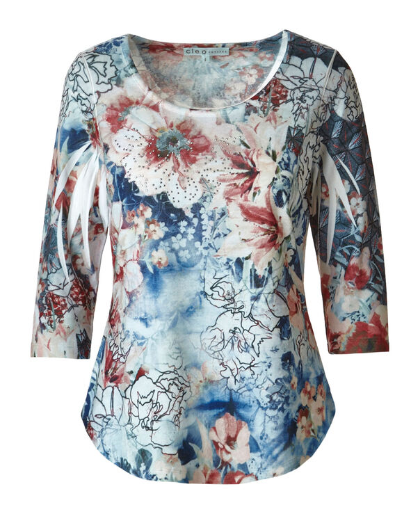 Floral Printed Hacchi Top, Blue, hi-res